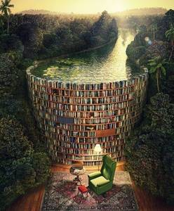 Fantasievolle Bibliothek