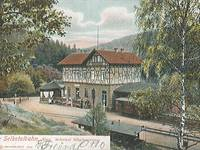 Historische Postkarte: Die Selketalbahn, Bahnhof Mägdesprung, 1905