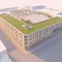 Entsprechend dieser Entwurfszeichnung könnte so die Bebauung an der Ecke Spiegelstraße/Harmoniestraße zukünftig aussehen. Anpassungen sind im weiteren Planungsverlauf möglich.