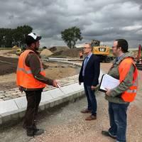 Kreisel IG Ost – OB Henke informiert sich über den Stand der Bauarbeiten