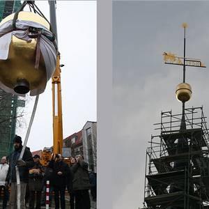 Kugel, Wetterfahne und Stern - gelangen wieder auf die Spitze der Martini Kirche