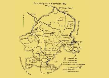Das Königreich Westfalen im Jahre 1810 mit dem Zug der Freischaren des Schwarzen Herzogs [(c) Städtisches Museum Halberstadt]