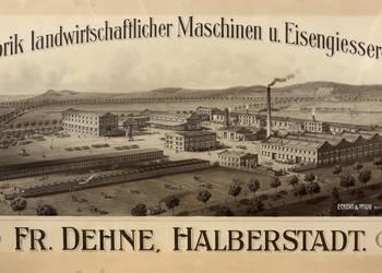 Gesamtansicht Fabrik, Betriebe, Maschinenfabrik 'FR. Dehne' ehemals VEB Landmaschinenbau Halberstadt, Plan des neuen Betriebsgeländes, isometrische Darstellung des 1905 bis 1908 erbauten Werkes an der Quedlinburger Straße, Ecke Bredowstraße [(c) Städtisches Museum Halberstadt]