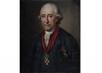 Ernst Ludwig Christoph Freiherr von Spiegel zum Diesenberg wurde 1711 in Gießen geboren. Durch Vermittlung seines Onkels, des Halberstädter Domdechanten Clamer von dem Bussche, kam er als Domherr nach Halberstadt. Von den Ideen der Aufklärung durchdrungen, hatte der Domherr von Spiegel schon als junger Mann stets Auge und Ohr für die Probleme, Sorgen und Nöte seiner Mitmenschen, was sein Ansehen und seine Stellung innerhalb des Domkapitels stärkte. 1753 wählte man ihn einstimmig zu dessen Nachfolger. 1763 erwarb er die damals noch kahlen Felsberge südlich der Stadt und ließ sie zu einem Landschaftspark umgestalten, den heutigen Spiegelsbergen. [(c) Sammlung Städtisches Museum Halberstadt]
