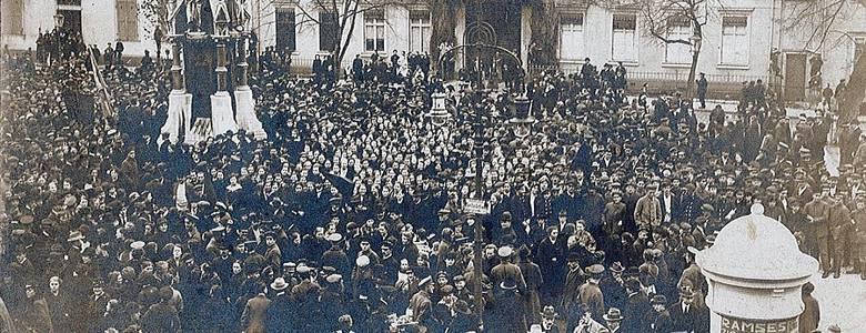 Großkundgebung am 9. November 1918 auf dem Domplatz [(c) Städtisches Museum Halberstadt]
