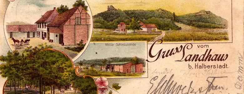 """Einen """"Gruss vom Landhaus bei Halberstadt"""" vermittelte am 13. April 1899 diese hübsche Ansichtskarte, aus dem Hause der Lithographischen Anstalt von Louis Koch aus Halberstadt. [(c) Privatsammlung / Foto-Archiv: M. Stribrny]"""