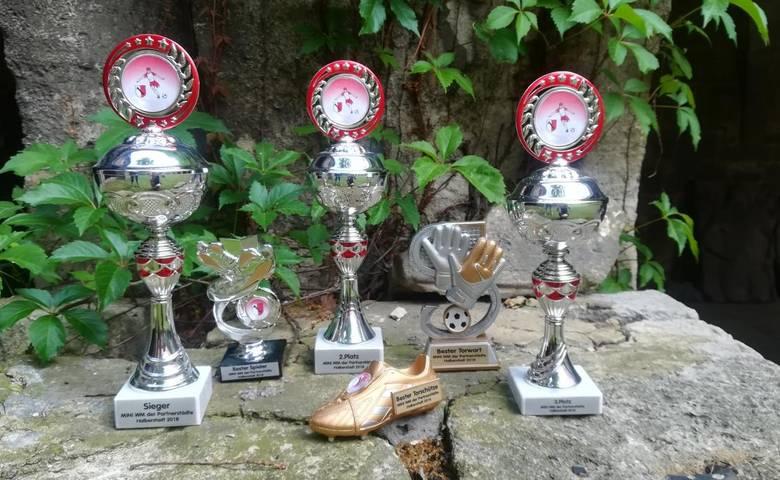 Um diese Pokale werden die die Mannschaften aus Banská Bystrica, Náchod und Halberstadt bei der Mini-WM kicken. [(c) Stadt Halberstadt, Pressestelle]