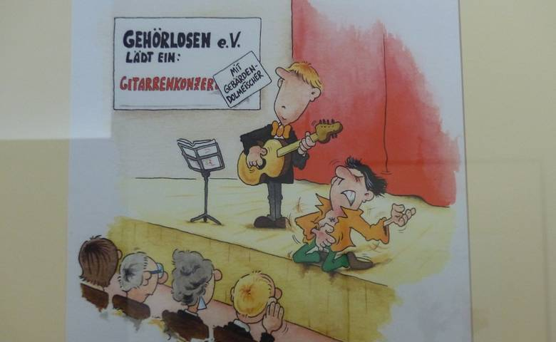"""Humor in der Selbsthilfe"" – Cartoons von Phil Hubbe im Rathausflur [(c) Phil Hubbe]"
