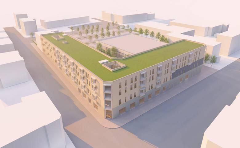 Entsprechend dieser Entwurfszeichnung könnte so die Bebauung an der Ecke Spiegelstraße/Harmoniestraße zukünftig aussehen. Anpassungen sind im weiteren Planungsverlauf möglich. [(c) privat]